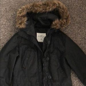 Winter coat with removable faux fur on hood